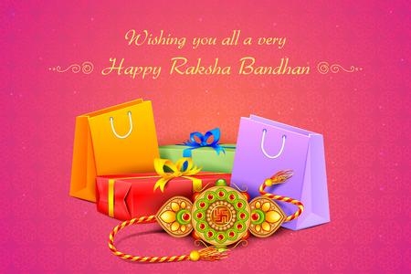 raksha: illustrazione vettoriale di Rakhi decorato con il regalo per Raksha Bandhan Vettoriali