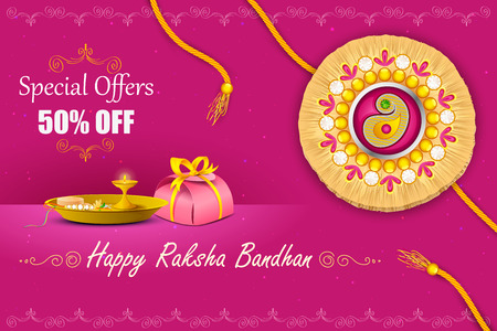 festival people: vector illustration of decorated rakhi with gift for Raksha Bandhan Sale Illustration