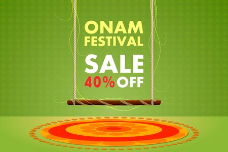 onam: vector illustration of Happy Onam festival sale