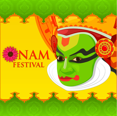 kerala culture: vector illustration of Happy Onam Festival Illustration