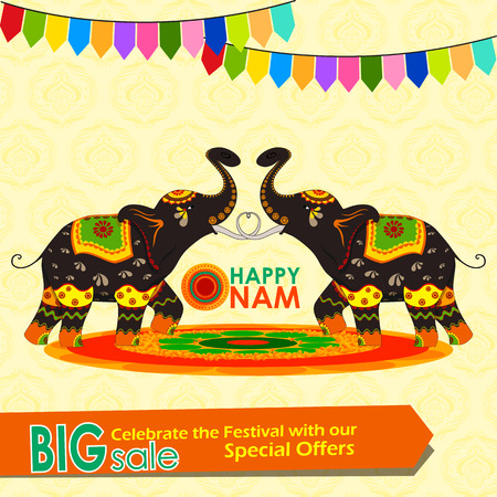 festive occasions: vector illustration of Happy Onam big sale Illustration