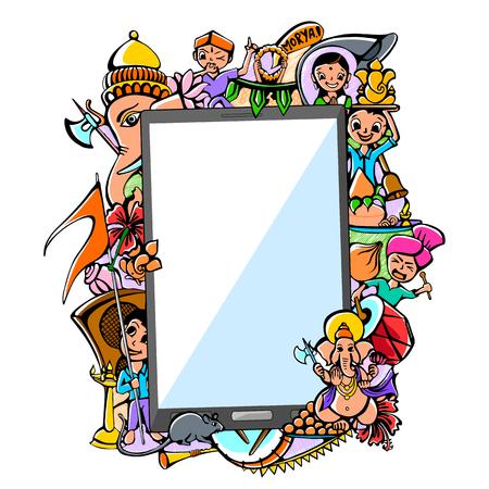 ganesh: ilustraci�n vectorial de dibujo para Happy Ganesh Chaturthi Mega Venta en aplicaci�n m�vil