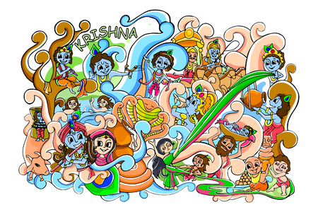 indian gods: vector illustration of colorful doodle for Happy Janmashtami wallpaper background