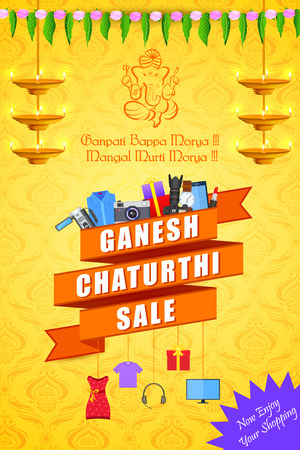 religious: vector illustration of Happy Ganesh Chaturthi Sale offer