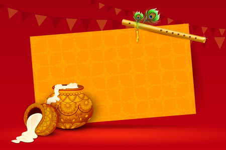 vector illustration of Happy Janmashtami wallpaper background