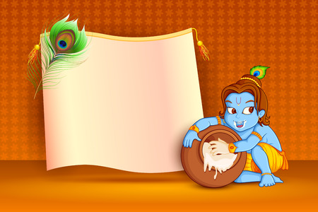 mahabharata: vector illustration of Happy Janmashtami wallpaper background