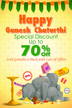 ganapati: vector illustration of Happy Ganesh Chaturthi Sale offer