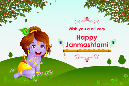 krishna: vector illustration of Happy Janmashtami wallpaper background