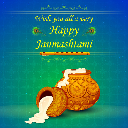 worship: vector illustration of Happy Janmashtami wallpaper background