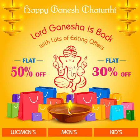mangal: vector illustration of Happy Ganesh Chaturthi Sale offer