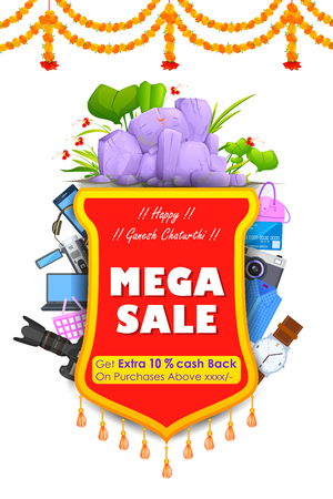 ganesh: vector illustration of Happy Ganesh Chaturthi Sale offer