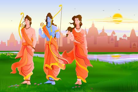 carnero: ilustración vectorial del Señor Rama, Laxmana y Sita para Happy Dussehra Vectores