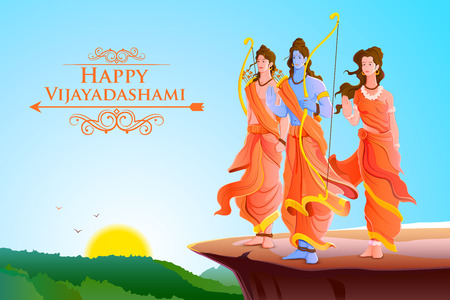 worship: vector illustration of Lord Rama,Laxmana and Sita for Happy Dussehra
