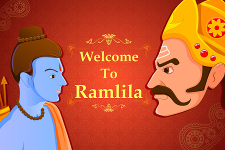 occassion: vector illustration of Rama killing Ravana in Happy Dussehra