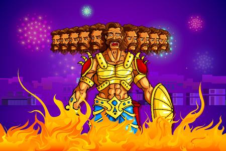 ravana: vector illustration of Ravana burning in fire on Dussehra