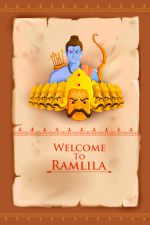 ramayan: vector illustration of Rama killing Ravana in Happy Dussehra
