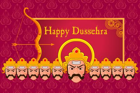ramayan: vector illustration of Ravana in Happy Dussehra