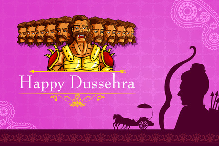 dussehra: vector illustration of Rama killing Ravana in Happy Dussehra
