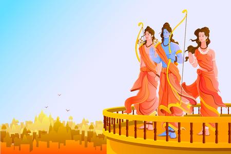 vector illustratie van Lord Rama, Laxmana en Sita voor Happy Dussehra