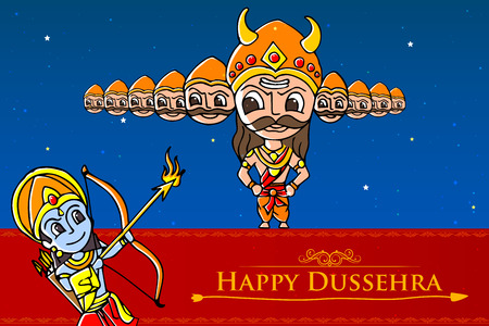 diwali celebration: vector illustration of Rama killing Ravana in Happy Dussehra