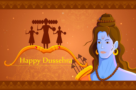 worship: vector illustration of Rama killing Ravana in Happy Dussehra