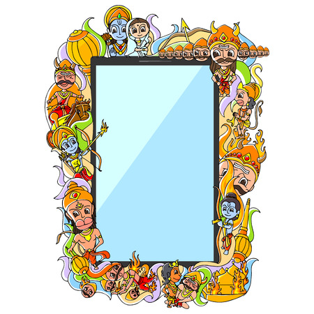 mobile application: vector illustration of Happy Dussehra doodle drawing for mobile application