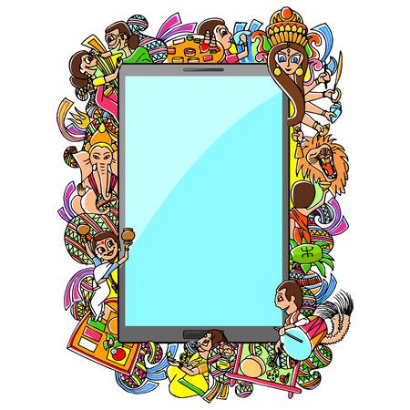 mahishasura: vector illustration of Subho Bijoya doodle drawing for mobile application