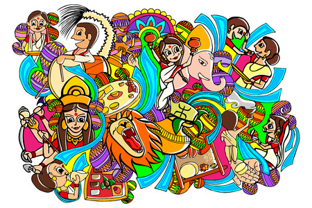 vector illustration of Happy Durga Puja doodle drawing