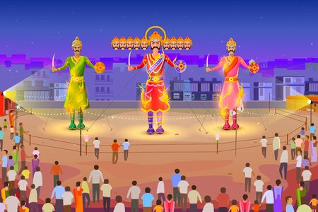 faith: vector illustration of Ravana burning in Dussehra Illustration