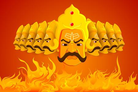dussehra: vector illustration of Ravana burning in fire on Dussehra