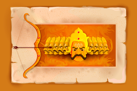 vector illustration of Ravana in Happy Dussehra Stok Fotoğraf - 45336698