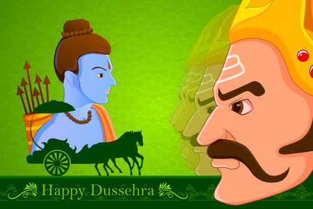 chariot: vector illustration of Rama killing Ravana in Happy Dussehra