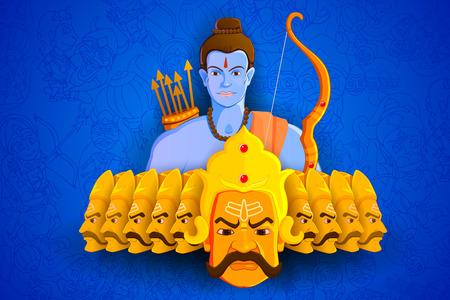vector illustration of Rama killing Ravana in Happy Dussehra