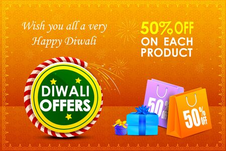 traditional festival: illustration of Happy Diwali holiday offer