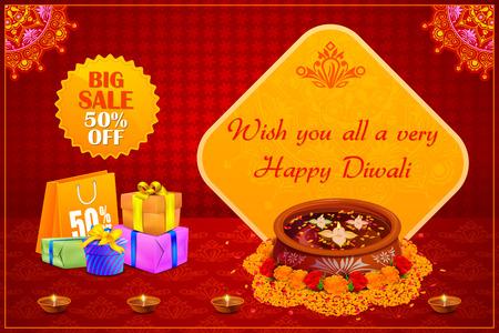 diwali: illustration of Happy Diwali holiday offer
