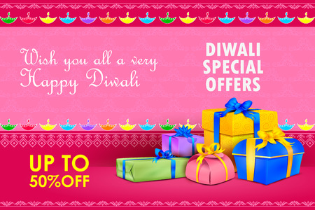 indian festival: illustration of Happy Diwali holiday offer