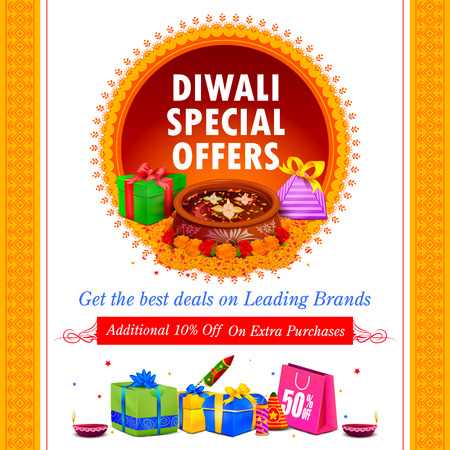 worship: illustration of Happy Diwali holiday offer