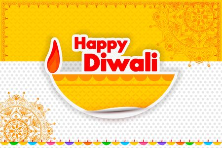 illustration of Happy Diwali diya with colorful floral