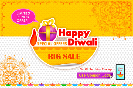 diwali celebration: illustration of Happy Diwali holiday offer