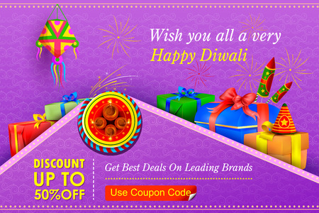 gift: illustration of Happy Diwali holiday offer