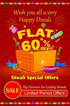 diwali: illustration of Happy Diwali holiday offer