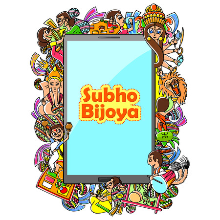 bengali: illustration of Subho Bijoya doodle drawing for mobile application