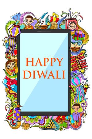 diwali celebration: illustration of Happy Diwali doodle drawing for mobile application Illustration