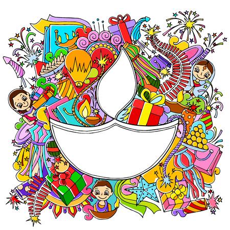 celebration: illustrazione di Happy Diwali disegno doddle