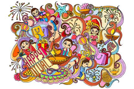 illustration of Happy Diwali doddle drawing