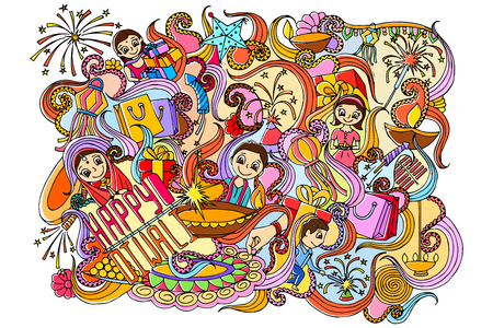 festival occasion: illustration of Happy Diwali doddle drawing