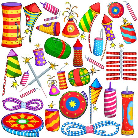 illustration of collection of colorful firecracker for Diwali