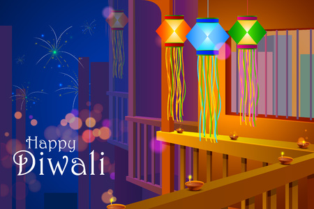 diwali: illustration of colorful Diwali hanging lantern with firework backdrop