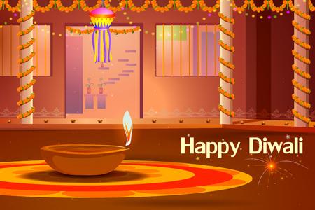 illustratie van de Indiase huis versierd met diya in Diwali nacht