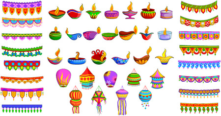 diwali: illustration of decorative diya, hanging kandil lantern and toran for Indian festival